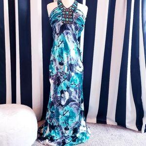 Dresses & Skirts - Satin Water Color Floral Print Dress